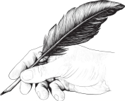 drawing-of-hand-with-a-feather-pen-vector-1777419